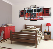 Retro fire truck canvas wall art abstract print home decor for living room modern pictures 5 panel large poster HD printed(China)