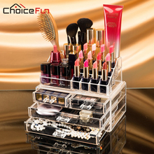 CHOICE FUN Makeup Organizer Storage Box Acrylic Make Up Organizer Cosmetic Organizer Makeup Storage Drawers Organizer Organiser(China)