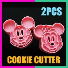 Free Shipping 2Pcs/Set Top new  mickey and minnie shape mold sugar Arts set Fondant Cake tools
