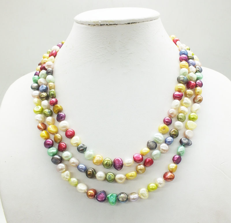 8-9MM  3-layer natural mixed color freshwater pearl necklace