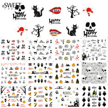 1Sheet Halloween Pumpkin/Cat/Spider Web Pattern Nail Decals Nail Art Water Transfer Design Stickers Beauty Decor LAA1105-1116
