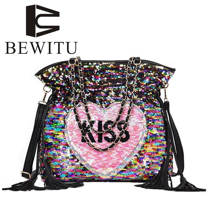 BEWITU Lovely Sequins High-capacity Women Handbags 2018 New Wave Korean Wild Messenger Large-capacity Chain Bucket Bag<br>