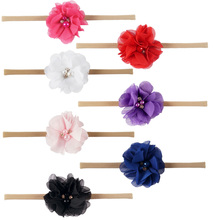 1 pc Mini Chiffon Flowers  Headband White Pearl Rhinestone Soft Nylon Headbands For Children Girls Hair Accessories
