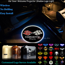 2x Wireless Car Door Welcome Ghost Shadow Spotlight Laser Projector LED Logo Light for Corvette Stingray(China)