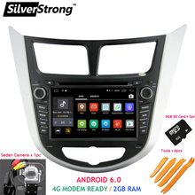 SilverStrong 2GB RAM Android6.0 2Din Car DVD For HYUNDAI Solaris Accent Verna 2011 to 2016 Radio RDS with 1 SD slot