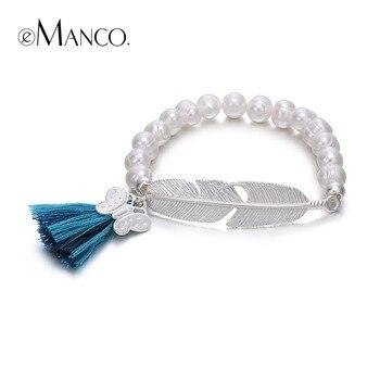 EManco À La Mode Bohême Gland Déclaration Charmes Bracelets et Bracelets pour les Femmes Perles Forme De Plume En Métal Bijoux pour 2016 D'été