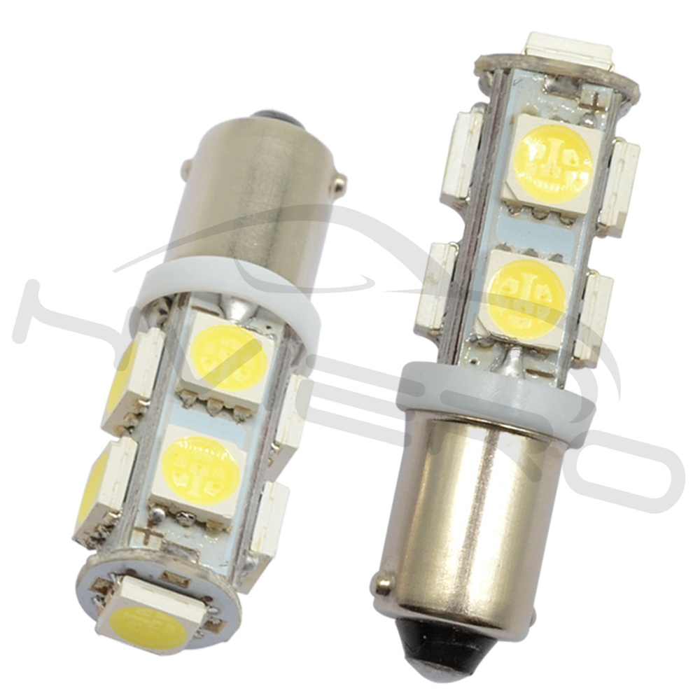 2x White BA9S T4W Pure 5050 SMD 13 LED Car Side Tail Lights Bulbs Lamp Interiors