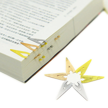 New High Quality  Mini Triangle hollow Brass stainless steel Metal Bookmark creative Elegant cute bookmarks for books 763