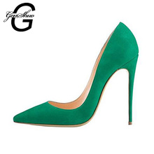 GENSHUO High Heels Women Sexy Green Extreme High Heel Shoes Ladies Femail Designer Shoes Women Luxury 2017 Wedding Shoes Bride