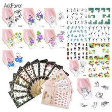 AddFavor 100Pc Nail Art Sticker Water Transfer Print Nail Decal Love Cat Feather Butterfly DIY Beauty Manicure Tool Nail Sticker(China)