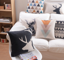 Nordic Simply Geometric Pillow Retro Deer Decorative sofa car Chair cushions /Throw Pillows /Pillowsham/ Home Decor Cushion(China)