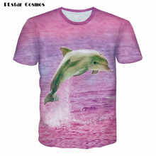 PLstar Cosmos Summer 3d Dolphin t shirt Women Men pink t-shirt unisex cute animal tshirt casual tee shirts femme