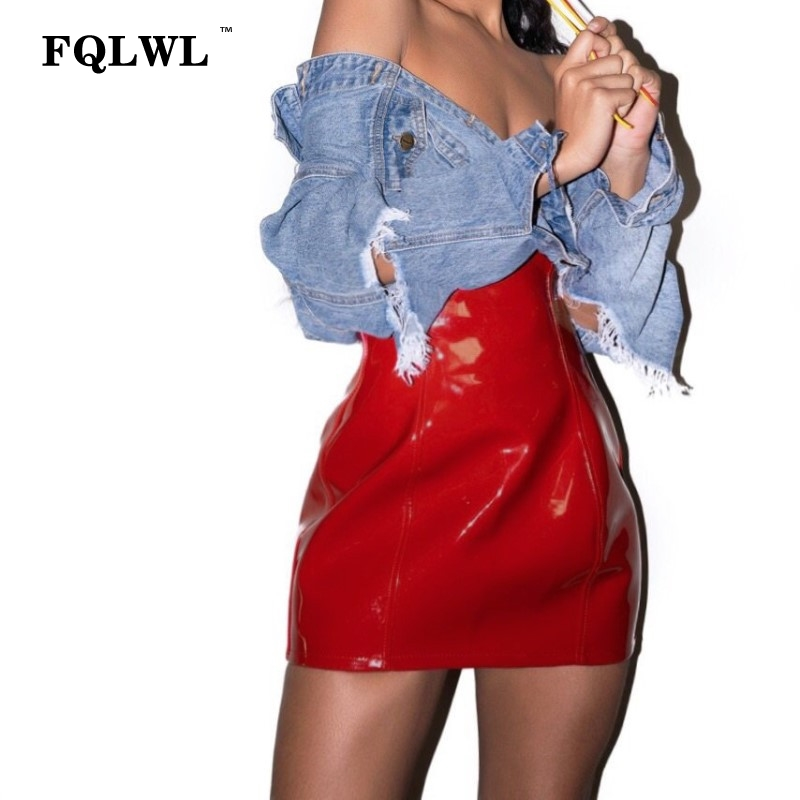FQLWL Red Soft PU Leather Skirt Pencil Zipper High Waist Bodycon Mini Skirt Women Jupe Crayon Sexy Club Latex Skirt Summer 2018
