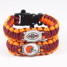 2017 Hot New Football Fans Cleveland Browns Charm Paracord Survival Bracelet Friendship Outdoor Camping Bracelet 10pcs/lot(China)