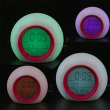 Digital LED Alarm Clock 7-Color Changing Alarm Clock Calendar Thermometer Natural Sound Table Clock With Backlight Circular