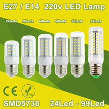 High Bright 220v 240v LED E27 Lamp Corn Bulb Spotlight SMD 5730 Lampada E27 LED Lamparas E14 5W 7W 9W 12W 18W Warm Cold white