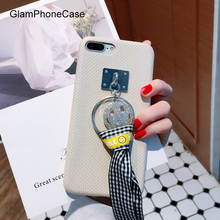 Fashion Checkered Ribbons Smile Diamond Bling Rhinestones Cover for iphone 6 6s plus iPhone 7 7P Soft Mobile Phone Case