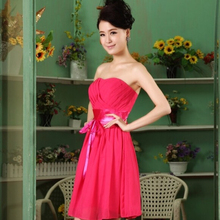 hot & sexy sexy cheap short summer girl sweetheart fitted chiffion dress hot pink modest prom dresses 2017 new arrival W230