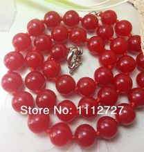 Fashion genuine 10mm red Chalcedony Necklace beads Stone Jewelry Stone necklace Ornaments Christmas gifts 18'' Wholesale Price(China)