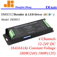 Free Shipping Super Sale RGBW Controller, DMX Decoder & pwm led driver, 4channels/12-24V/16A/380W pn:DE 8015(China)