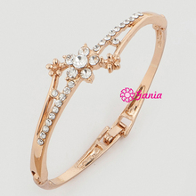 New Arrival High Quality Yellow Gold Czech Crystal Flower Flower Hinged Bangles & Bracelets Jewelry Accessory For Women