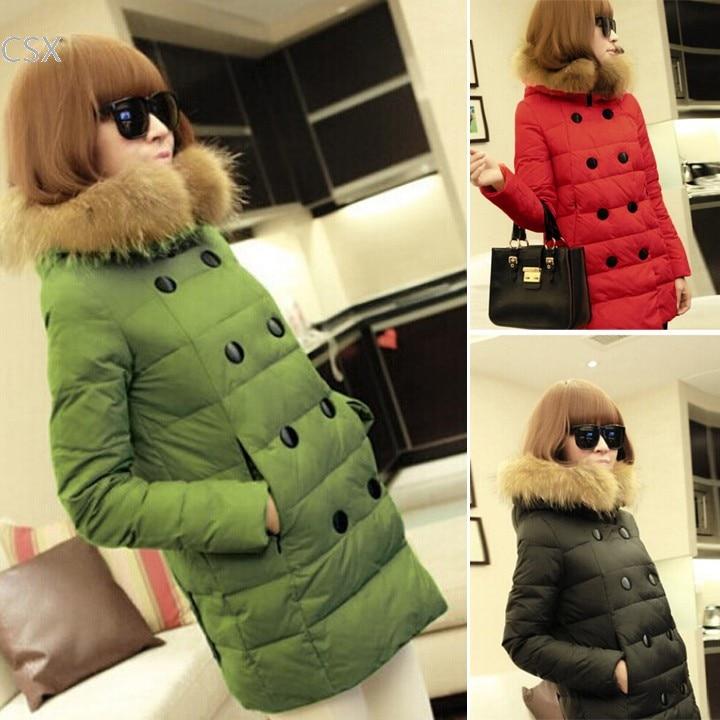 Alishebuy New Arrival Winter Warmer Womens Removable Imitation Fuax Fur collar Double-breasted Cotton Down Jacket Coat 35Îäåæäà è àêñåññóàðû<br><br>