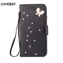 Lovebay Flip PU Leather Phone Case For iPhone 7 7 Plus 6 6s Plus 5 5s SE 4 4s Cover Flower Butterfly Bling Diamond Phone Bags