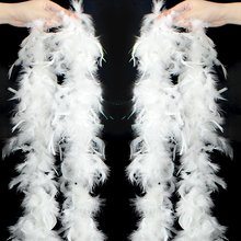 WXBOOM 2PCS 2m/6.6ft Colorful Party Feather BOA, Turkey Feather BOA for Wedding Birthday Party Decorations Clothing Accessories