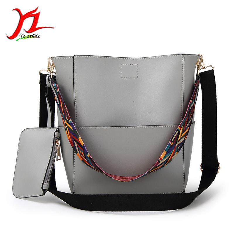 New Fashion Women Brief PU Thread Stitching Handbag Knitted Handle Magnetic Hasp Large Shoulder Bucket Composite Bag with Purse<br>
