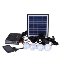 Portable 4W home Solar Power kit,with 4pcs LED lanterns,mobile charger(China)