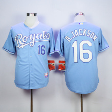 Homens MLB KANSAS CITY ROYALS BO JACKSON Eric Hosmer Salvador Perez Jersey(China)