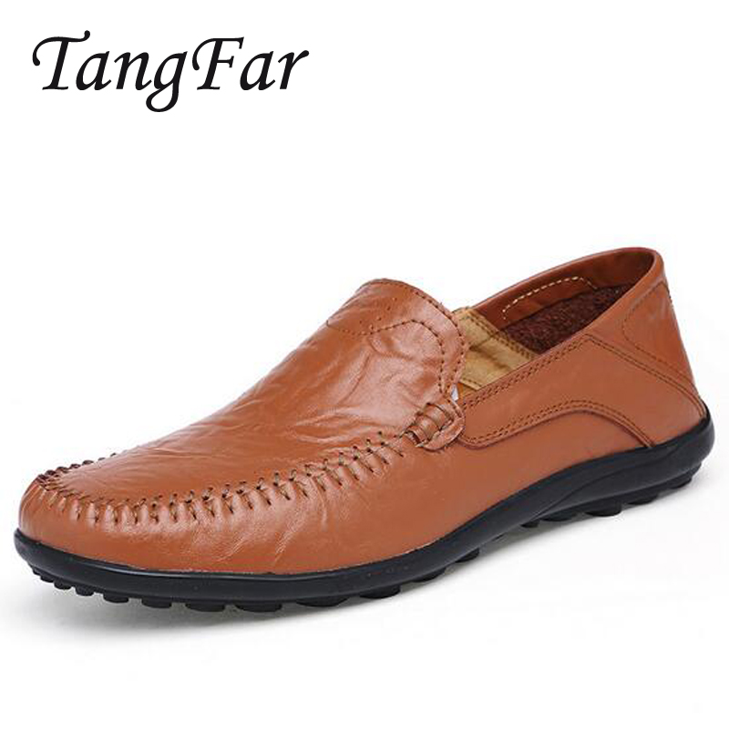Mens Leather Casual Shoes Plus Size 47 46 45 Breathable Driving Shoes For Men New Male Moccasins Loafers Quality<br>