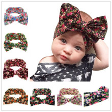 Naturalwell Baby Girls big Bow Knot Elasticity Headband Cotton Children Girls Elastic Hair Band Hair Accessories 1pc HB508(China)