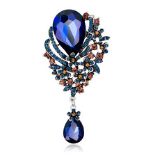 New Bohemian Elegant Waterdrop Hollow Beads Blue Red Crystals Brooch Pins Women Vintage Costumes Brooches Jewelry Accessories