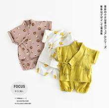 Newborn Japanese Baby kimono Tracksuit kikikids pants+tops Kids Boy Print Cotton Boy Kids Clothing Set Child Infant Clothes(China)