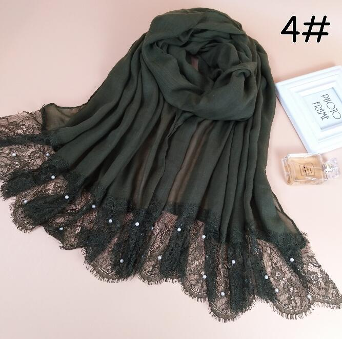 Free shipping Lace Cotton Viscose Pearl Scarf Muslim Hijab Muffler Head Wrap Quality Scarves Wholesale Retail Hot
