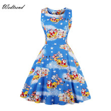 Wedtrend Vintage Dress Santa Claus Elks Christmas Dresses New Arrival Audrey Hepburn Style 1950s Cheaps Free Shipping Retro Gown(China)