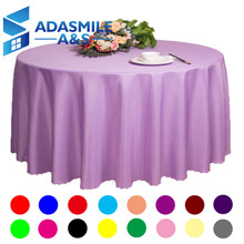 Adasmile Wholesale Big Size Polyester Round Table Cloth Wedding Tablecloth Party Table Cover Square Dining Table Rectangular(China)