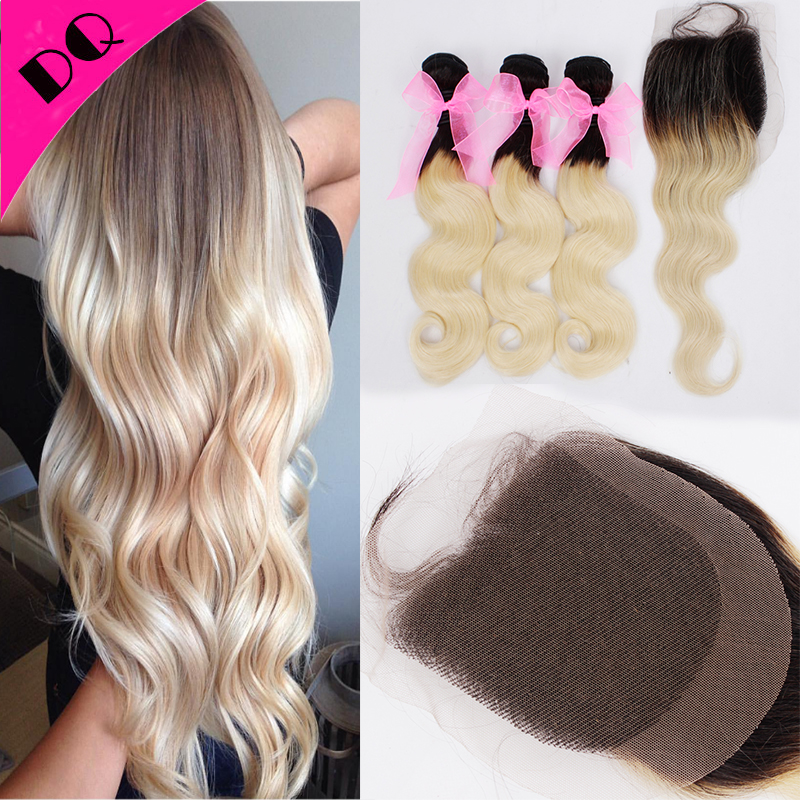 Brazilian Virgin Ombre Hair Dark Roots Weave 3 Bundles With Closure Brazilian Human Hair Body Wave Bundle With Closure Extension<br><br>Aliexpress