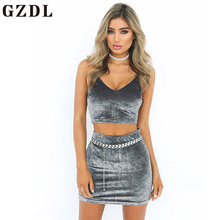 GZDL Summer Sexy Women Two Pieces Sets Velvet Set Fashion Strap Deep V Backless Zipper Crop Top Sheath Bodycon Mini Skirt CL3691(China)