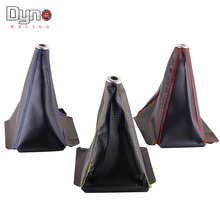 FREE SHIPPING PVC Carbon Fiber Look Red/Gold/Blue Stitch  Shift Knob Shift Boot Cover MT/AT