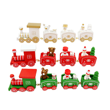 New Year Navidad Natal Christmas Decorations for Home 2017 Noel Xmas Christmas Gifts Wooden Little Train for Children Kids(China)