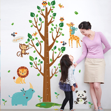 Cartoon Animal Design Wall Sticker with Tree Height Measuring Board DIY Wallpaper For Kindergarten Best Kids Room Wall Ornaments(China)