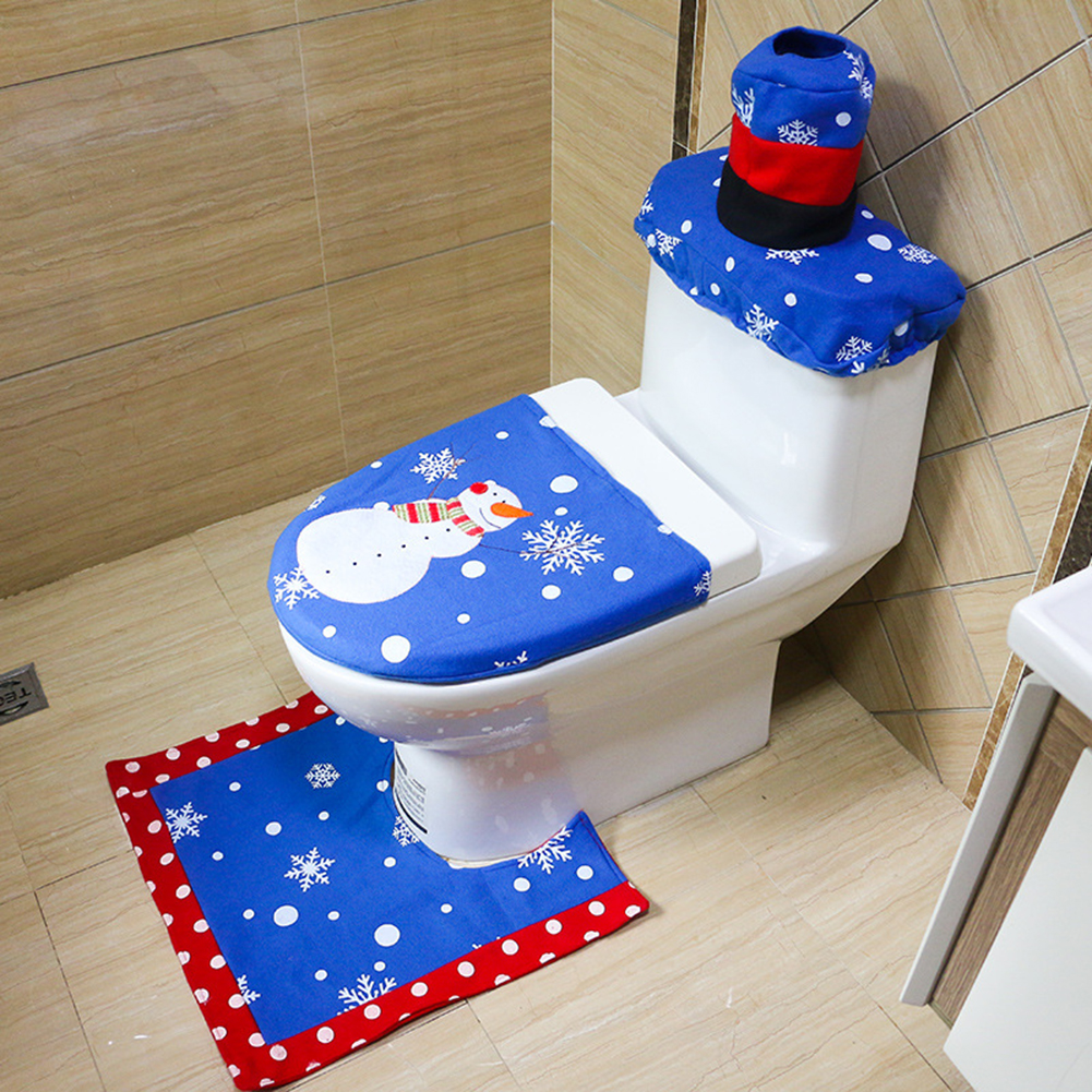 3pcs Blue Santa Claus Christmas Toilet Seat Cover Bathroom Foot Pad Cover Rug Set Xmas Ornaments New Year Christmas Decoration(China (Mainland))