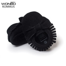NEW Styles Baby Soft Flock Tassel Moccasins Girl Moccs Baby Booties Bow Moccasin design baby shoes Newborn shoes Black color(China)