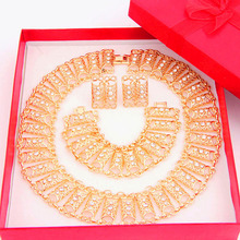 2016 New Arrival Dubai African Necklace Earrings Fashion Crystal Rhinestone Wedding Bridal Costume Jewelry set