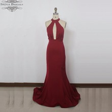 High Quality Factory Directly Order Halter Backless Dark Red Bridesmaid Dresses