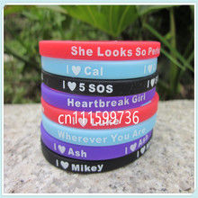 8PCS/Set 5 Seconds Of Summer Skinny Silicon Bracelet, I Love 5 SOS Wristband With Name: Luke, Mikey, Cal, Ash