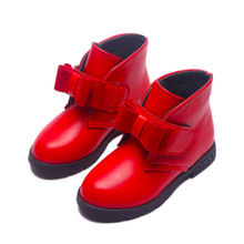 Winter Baby Shoes Princess Black Red Warm PU Shoes Children Double Bow Girls Ankle Boots Kids School Fashion Boot Platform Heel