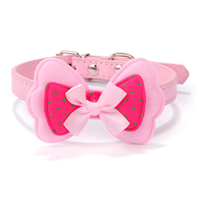 Factory Price!1pcs Dod Polka Dots Collar Bow Pet Dog Collar Leather Pet Choker Puppy Cat Necklace XS S M L